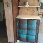 buffet étagère combiné western LMF fût tonneau metal bois chêne