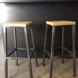tabouret de bar Marcel metal bois brut La Métallerie fine 1