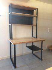 bureau metal bois modulable étagère