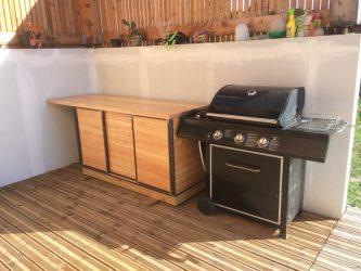 cuisine d été placard extérieur métal bois portes coulissantes LMF